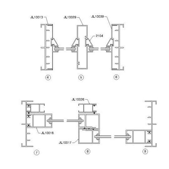 Aluminium Window Frame Profiles JL100